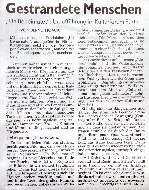 NN-Kritik zur Premiere Unbeheimatet - Teil 1